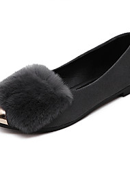 Women's Loafers & Slip-Ons Fall Comfort Leatherette PU Casual Low Heel Pom-pom Black Gray Others