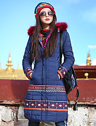 Our Story Women's Padded CoatBoho Casual/Daily Print-Cotton / Polyester Polyester Long Sleeve Hooded Blue