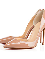 Feminino-Saltos-Sapatos com Bolsa Combinando-Salto Agulha-Preto / Amêndoa-Courino-Escritório & Trabalho / Festas & Noite / Casual