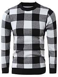 Men's Casual/Daily Simple Regular Pullover,Check Red Black Round Neck Long Sleeve Cotton Winter Thick Micro-elastic