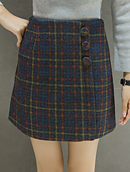 Women's A Line Check Skirts,Going out Mid Rise Above Knee Button Cotton Micro-elastic All Seasons