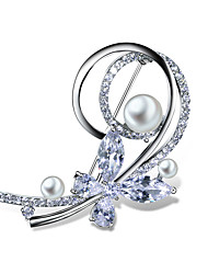 New Gifts Buttery Attractive Brooches for Mother White pearl Platinum plated Clear White AAA Cubic zirconia