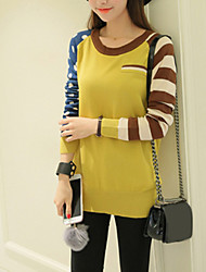 Women's Going out / Casual/Daily Street chic Long Pullover,Color Block Yellow Round Neck Long Sleeve Acrylic Spring