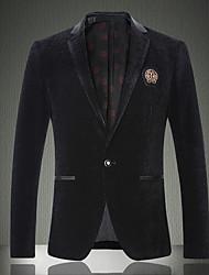 Hommes,Couleur Pleine Décontracté / Quotidien / Travail / Soirée / Cocktail Vintage Manches Longues Col de Chemise Noir Laine / Coton
