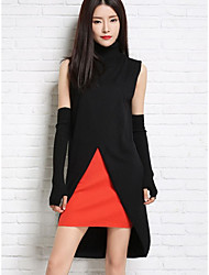 Women's Going out / Holiday Street chic Long Pullover,Solid Red / Black / Gray Turtleneck Long Sleeve Wool Winter Medium Micro-elastic