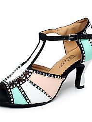 Zapatos de baile(Azul / Rojo / Otro) -Latino / Jazz / Zapatillas de Baile / Moderno-Personalizables-Tacón Cuadrado