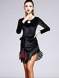 Latin Dance Dresses Women's Performance Velvet Tassel(s) 3 Pieces Long Sleeve High Waist Belt / Dress / Shorts