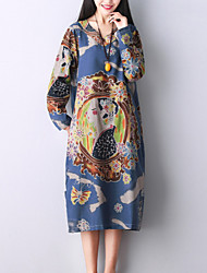 Women's Elegant chic Loose Dress Print V Neck Midi Long Sleeve Blue Cotton / Linen Fall Mid Rise Inelastic Medium