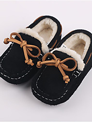 Boy's Loafers & Slip-Ons Winter Moccasin Cowhide Outdoor Casual Flat Heel Bowknot Black Blue Camel Others