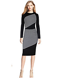 Women's Casual Stripes Sheath Dress,Striped Round Neck Midi / Neckline to hem measures 21.5 inch Long Sleeve Black Cotton Fall Mid Rise