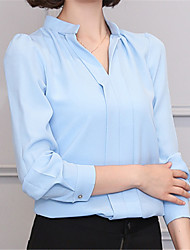 Fashion Long Sleeves V-neck OL Rendering White Jobs Wild Chiffon Shirt