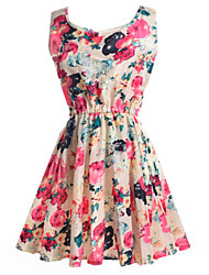 Casual/Daily Cute Loose Sheath Skater Dress,Print Pleated Round Neck Above Knee Sleeveless Polyester Blue Beige Summer Mid Rise