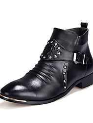 Men's Boots Fall Winter Comfort PU Casual Low Heel Others Black
