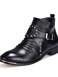 Черный-Мужской-Повседневный-Полиуретан-На низком каблуке-Удобная обувь-Ботинки