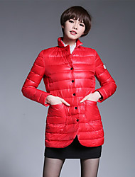 Women's Down Coat,Simple Casual/Daily Solid-Cotton White Duck Down Long Sleeve Red / Black