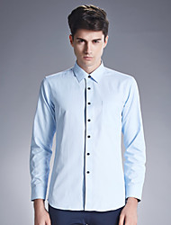 Men's Wedding / Work Vintage / Street chic Shirt,Solid Shirt Collar Long Sleeve Blue Cotton