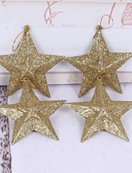 Christmas Decorations     Gold Five - Pointed Star Christmas Tree Wreath Decoration 10cm