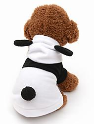 Gatos / Cães Fantasias / Camisola com Capuz Preto / Branco Roupas para Cães Inverno / Primavera/Outono Animal Fofo / Fantasias