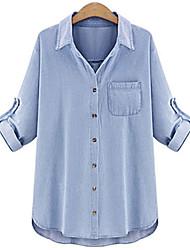 Fashion Large yards women Long sleeves Loose Was thin Cowboy Shirt