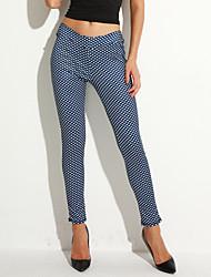 Women's Geometric Blue Sweatpants / Skinny Pants,Active