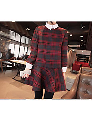 Women's Going out / Casual/Daily / Beach Simple Tunic Dress,Plaid Shirt Collar Above Knee Long Sleeve Red Polyester Fall / Winter Low Rise