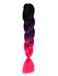 Black Cherry Pink Ombre Crochet 24 Yaki Kanekalon 2 Tone Jumbo Braids 100g Synthetic Hair