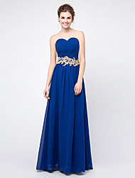 Floor-length Chiffon Lace-up Bridesmaid Dress - A-line Sweetheart with Appliques / Beading