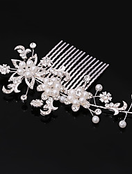 Women's Rhinestone Imitation Pearl Headpiece-Wedding Flower Combs Hair Jewery