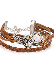 Women's Wrap Bracelet Leather Bracelet Bracelet Loom Bracelet Pearl Leather Alloy Heart Khaki Jewelry 1pc