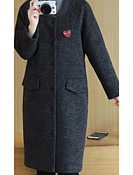 Women's Casual/Daily Simple Coat,Solid Long Sleeve Gray Polyester