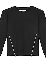 Trenduality® Hommes Col Arrondi Manche Longues T-shirt Noir - ZZ023