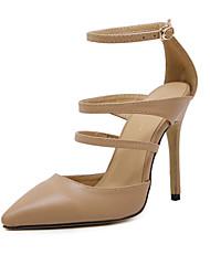 Women's Heels Summer Ankle Strap Leatherette Dress Stiletto Heel Black Burgundy Almond