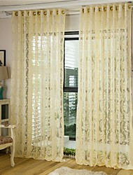 One Panel Curtain European , Flower Living Room Polyester Material Sheer Curtains Shades Home Decoration For Window