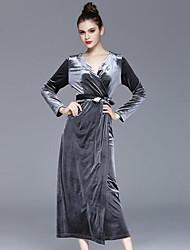 Ample Robe Femme Décontracté / Quotidien simple,Couleur Pleine V Profond Midi Manches Longues Vert / Argent Polyester Automne / Hiver