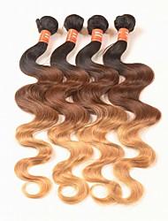 4 Pièces Ondulation naturelle Tissages de cheveux humains Cheveux Péruviens 0.4kg 8-30 inch Extensions de cheveux humains