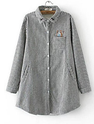 Women's Casual/Daily Simple Spring / Fall Shirt,Striped Shirt Collar Long Sleeve Multi-color Cotton Medium