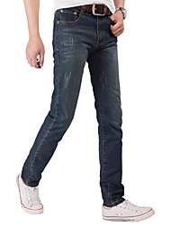 Hommes Droite Jeans Pantalon,simple Décontracté / Quotidien Couleur Pleine Taille Basse fermeture Éclair Coton Micro-élastique All Seasons