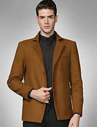Men's Casual/Daily / Work / Party/Cocktail Simple Fall / Winter Solid Shirt Collar Long Sleeve Brown Wool Suit