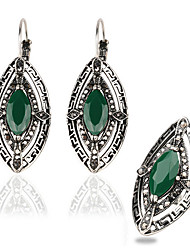 Classic Vintage Bohemia Women Jewelry Set Antique Silver Plated Turquoise Stone Earrings Ring ZK T2-0024 Eyes Resin Jewelry Set