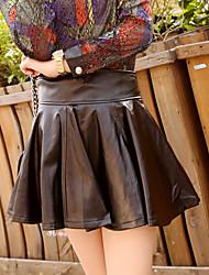 Feminino Saias-Balanço Cor Única Cintura Alta Casual Acima do Joelho Elasticidade PU Micro-Elástico Outono