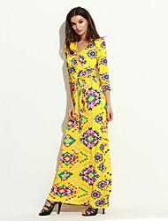 Women's Boho Print Sheath Dress,V Neck Maxi Polyester