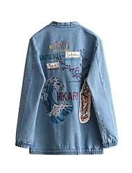 Feminino Jaquetas Jeans Para Noite / Casual Simples / Moda de Rua Outono / Inverno, Bordado Azul Poliéster / Fibra Sintética Gola Redonda-