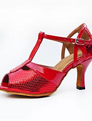 Chaussures de danse(Rouge) -Personnalisables-Talon Bottier-Similicuir-Latine / Jazz / Baskets de Danse / Moderne