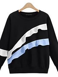 Damen Patchwork Einfach Lässig/Alltäglich T-shirt,Rundhalsausschnitt Herbst Langarm Schwarz / Grau Baumwolle