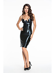 Women's  Faux Leather Padded Midi Dress