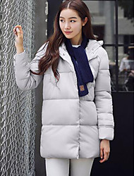 Women's Regular Down Coat,Simple Casual/Daily Solid-Polyester White Duck Down Long Sleeve Blue / Pink / White / Black