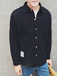 Men's Going out / Beach Simple / Active Shirt,Solid Shirt Collar Long Sleeve Black Cotton