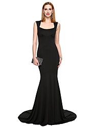 TS Couture Formal Evening Dress - Ivanka Style Celebrity Style Trumpet / Mermaid Square Sweep / Brush Train Stretch Satin with Pleats