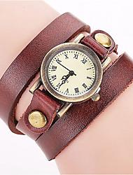 Mulheres Relógio de Moda Relógio de Pulso Bracele Relógio Quartzo Colorido Punk Couro Banda Vintage Boêmio Pendente Bracelete Legal Casual