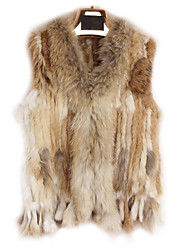 Fur Vest With Sleeveless Collarless Rabbit Fur Party/Casual Vest(More Colors)